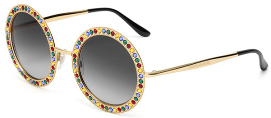 0ad2403e30b Dolce Gabbana Mambo collection 2170B metal sunglasses with the frame front  hand-decorated with sparkling Swarovski crystals that frame the round  lenses and ...