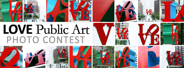 LOVE Public Art Photo Contest The Association of Public Art wants your best pictures of Robert Indiana's LOVE Sculpture. Selected photos will be part of a PhotoMosaic and automatically entered into the LOVE Public Art photo contest. The Photo Mosaic is going to be featured, this spring, on selected bus shelters around Philly. In addition to being turned into posters that will be available for free at select locations. So get thee to LOVE Park and start shooting and send those submissions to the APA via Facebook, Twitter or Instagram (use hashtag #LOVEPublicArt)! *photo from APA
