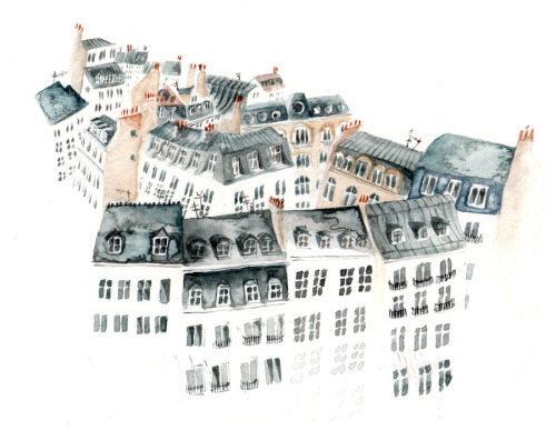 I painted some rooftops of Paris to post to someone.