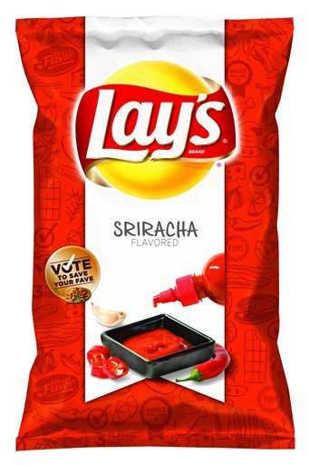 "Lay's debuts new Sriracha Potato Chips alongside two other flavors: Cheesy Garlic Bread and Chicken & Waffles Well, it was only a matter of time before somebody introduced Sriracha Potato Chips to the world, and it looks like that time is now. Lay's—through its ""Do Us A Flavor"" promotion—asked consumers to submit new flavor ideas for consideration that would be voted on via social media. After sorting through thousands of submissions, the folks at Lay's narrowed it down to three flavor finalists: Sriracha, Cheesy Garlic Bread, and Chicken & Waffles.  The new potato chip flavors are due to hit shelves on February 12, and fans are still encouraged to vote for their favorite to ensure that they stay year-round. Your trusty Sriracha Cookbook author hasn't tried the Sriracha potato chips, but rest assured that I had an email out to the Lay's media relations team four days ago! (Now, if only they'd answer it…) Once I find a bag to try, I'll be sure to report back. In the meantime, I'm gonna go grub on some Sriracha Peas to curb my rooster sauce snack craving. Have you gotten a hold of any of the new flavors? Whaddya think? (via AP: Lay's test-crunches 3 fan-nominated chip flavors)"