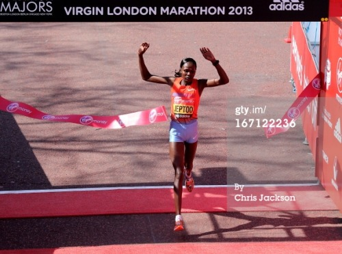 CONGRATULATIONS to Kenya's Priscah Jeptoo who won the Women's Race at this year's London Marathon. Jeptoo took advantage of a dramatic fall by Olympic champion Tiki Gelana to win the London Marathon. Jeptoo, the 2012 Olympic silver medallist, won in two hours, 20 minutes and 13 seconds, ahead of compatriot Edna Kiplagat and Japan's Yoko Shibui. Earlier, Gelana was involved in a collision at a water station with Canadian wheelchair racer Josh Cassidy. Despite falling, the Ethiopian was able to rejoin the race, but, in clear discomfort, her challenge faded. Gelana, part of the leading pack at the 15km mark, cut across the path of Cassidy as she attempted to collect a drink. The collision ended Cassidy's participation in the men's wheelchair race, which was won by Australia's  Kurt Fearnley  . Britain's six-time Paralympic gold-medal winner  David Weir  , aiming for a seventh London Marathon win, was fifth. In the women's wheelchair race, American  Tatyana McFadden  emerged victorious, with Britain's  Shelly Woods  fourth. McFadden also won the Boston Marathon on Monday, a race that was later the target of a terrorist bomb attack. London paid tribute to the victims of the bombings, with a  30-second silence  observed before the start of the men's elite and mass races.  More to follow.