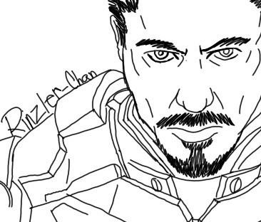 2 minute Tony Stark (Iron Man) line art~