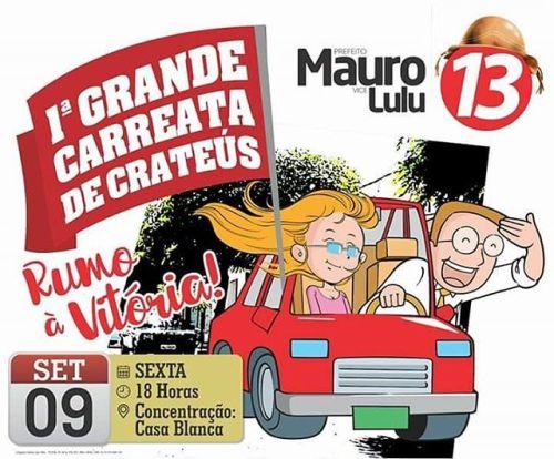 Chegou o Grande Dia !!!! É Hoje a Nossa I  Grande  Carreata Da Vitória De Mauro e Lulu !!! #CrateusQuerMais #MauroeLulu #13 #AvanteCrateus #Eleicoes2016  (em Crateús) #eleicoes2016#mauroelulu#13#crateusquermais#avantecrateus