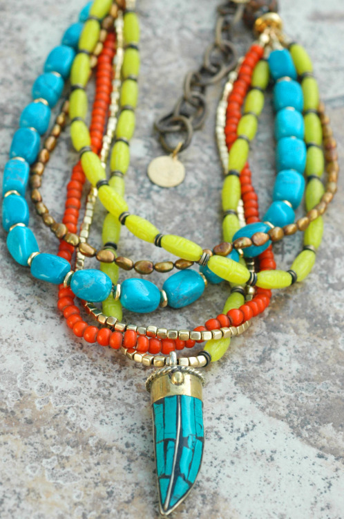 Custom Turquoise, Chartreuse and Orange Tusk Necklace Click here to purchase