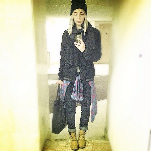 Wearing: American Apparel scarf, Vintage wool bomber, Boyfriend's Acne jeans, Timberland boots, Vintage flannel, American Apparel beanie, Supreme Iphone case and Joe leather tote. (taken with instagram)