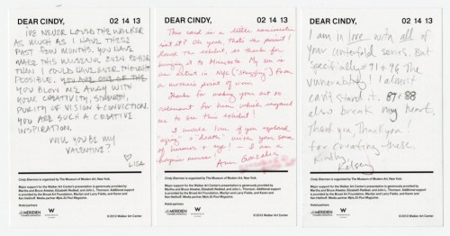 walkerartcenter:  Love letters from visitors to Cindy Sherman. (via Dear Cindy, — Field Guide — Walker Art Center)