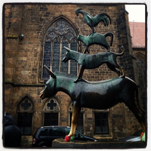 Touched the legs and nose of the donkey, so returning to Bremen.  (bij Bremen)