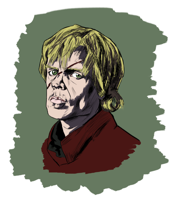 Tyrion Lannister, looking a little more impish than I usually paint him, obviously up to no good. Based on his likeness (Peter Dinklage) in HBO's Game of Thrones.