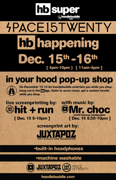 This weekend let us take care of the entertainment while you shop. Hang out in the hb tipi, listen to some music, and get a custom hoodie while you shop. Join us come out say hi.
