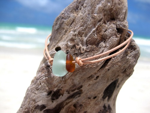 Hawaiian Aqua Blue Beach Glass and Amber Brown Beach Glass Tiny on India Leather Cord Completely Adjustable & Stackable Bracelet Handmade with Aloha! …surfer chic…