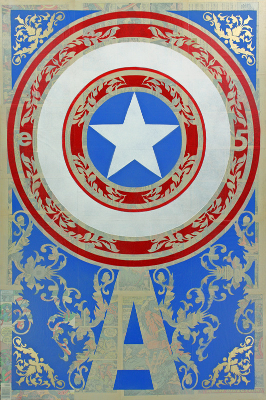 The Shield. (brilliant blue) Spray paint, vintage comics on canvas. 24 x 36 inches, 2012.