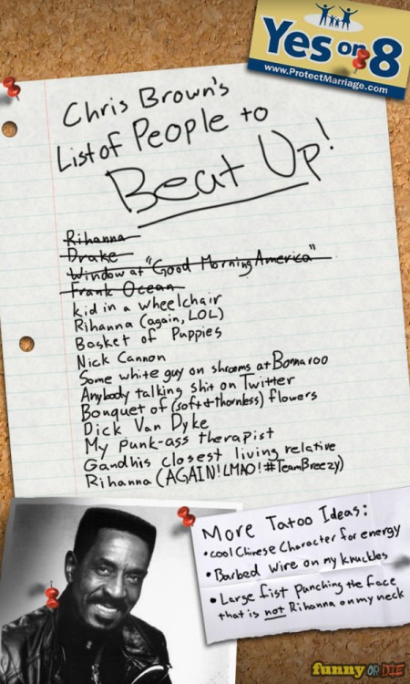funnyordie:  Chris Brown's List of People to Beat Up Fear leads to anger. Anger leads to hate. Hate leads to Grammys.