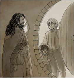 kaciart:  Minu and Art had suggest Thorin getting lost on his way to the shire yet again. minumi: Thorin's come, thinking, he'll get Bilbo to return with him BUT— Bilbo's got little Frodo beside him when he answers the door. Imagine what he'd think? He would have NO idea Frodo is his nephew Thorin thinks he's missed his chance - lost his One.  And even when he realises he hasn't, Bilbo is settled in the Shire once again, and with a child in the equation - Thorin's plan to whisk him away is not going to work out anymore.