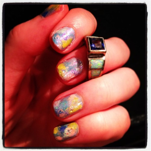 The new galaxy nail- Opal nails! I need to try out some different stuff with these to perfect it. Either way, they are pretty and springy! #opalnails #notd #opal
