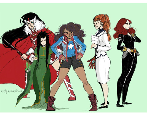 marty-mc:  as suggested by anon I sketched my personal all-female Marvel team, my fav ladies. Thank you for the suggestion this was quite fun!