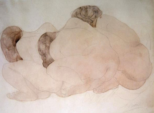 'Three Boulders' (Three Crouching Women), Rodin Pencil and watercolour