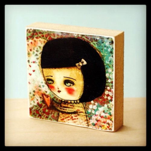 Mini wooden art print http://www.shanalogic.com/mini-wood-print-holding-your-heart.html #handmade #cute #heart