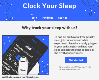 datanews:  Do you sleep as well as you'd like? Probably not. And that's taking a toll on our health. But we can do better! Today, WNYC is launching a campaign to improve sleep in the city that doesn't. Keep a digital diary to clock your sleep using our site, iOS app, or fitness tracker- and try to improve it. Check back for stories and data about how New Yorkers sleep.