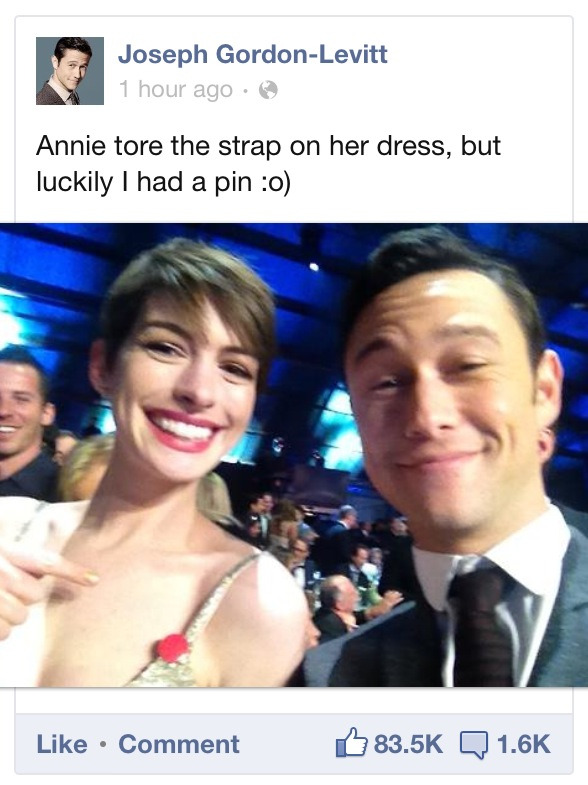 suicideblonde:  Anne Hathaway with Joseph Gordon-Levitt at the Critics Choice Awards, January 10th