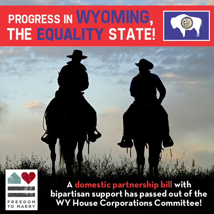freedomtomarry:  On Monday, a House committee in Wyoming demonstrated progress by advancing a bill that would extend domestic partnership protections to same-sex couples. Reblog this photo to celebrate this step forward, and read more: http://bit.ly/WbAlUs
