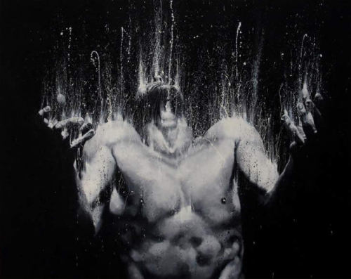 Instead of using paintbrushes, Italian artist Paolo Troilo dips his fingers into jars of black and white paint, and then smudges and splashes it onto large canvases. Each hand stroke is expressive and filtered into his subject matter of nude men yelling and fighting. And although the images look erotic, they are essentially related with energy and emotions. Unleash the fury by http://www.troilo54.com/