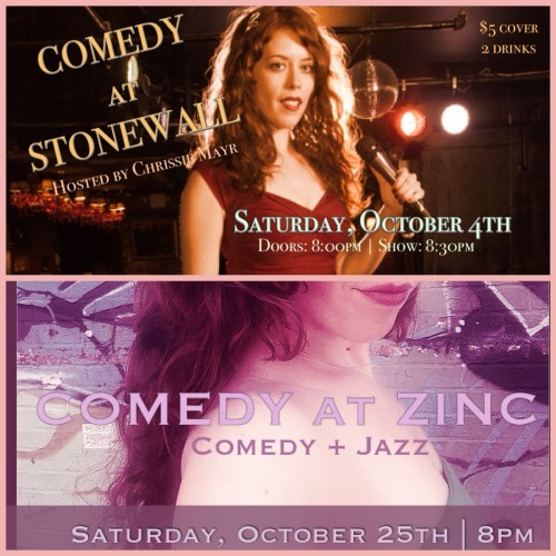 DEBUTING MY NEW COMEDY & JAZZ SHOW NEXT MONTH AT THE VERY SEXY ZINC JAZZ CLUB IN THE GREENWICH VILLAGE. OCTOBER IS GOING TO BE SO FUN.