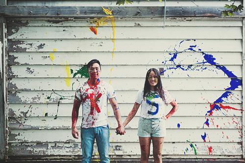 Engagement shoot with a splash of paint. www.rebeccachan.ca