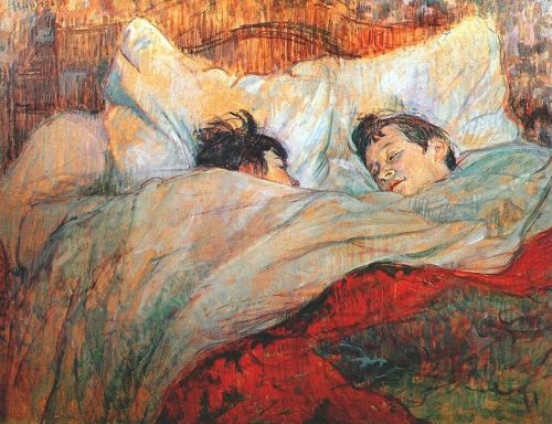 pinmeupagainstthesky:  These, for me, are the two most depressing paintings in western history. They were painted by post-impressionist Henry de Toulouse-Lautrec, a man who, due to inbreeding, was born with a genetic disorder that prevented his legs from growing after they were broken. After being so thoroughly mocked for is appearance, he became an alcoholic, which is what eventually caused his institutionalization and death. His only known romantic relations were withprostitutes.And then he paints something like this which is so beautiful and tender and sentimental. It seems like the couple in bed really loveseach other—cares abouteach other. Wakes up happy to look at each other. And I see that love and passion and I wonder how lonely he must have been. I wonder how he could paint something like this without it breaking his heart.Maybe they say artists should create what they know, not because its unbelievable when they extend themselves beyond their experiences, but because when they pull it off with such elegance, it's so damnunbearable to look at. I hate thinking of Lautrec, wondering about the lovers he created and knowing it was beyond his experience. Creating something that he knows is beautiful and knows he'll never really understand.
