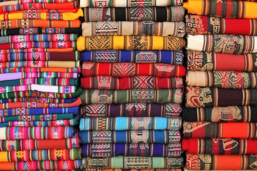 Incredible fabrics at a Bolivian market.