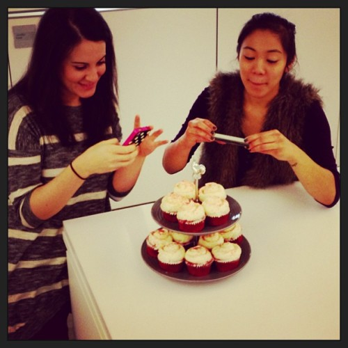Caught in the act! Editors Allyson Dickman and Judith Pena never stop instagramming. #officelife