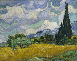 everyartisthasabday:  Many people believe that van Gogh's love of the color yellow was rooted in his mental disorders (and affinity for absinthe). Absinthe is believed to have inflamed his epilepsy and bipolar disorder. Not only does high-doses of thujone, the toxin in absinthe, cause people to see in yellow, but as his epilepsy grew worse, he was treated with a medication with a side effect of seeing yellow or yellow spots. Vincent van Gogh was born on this day in 1853. (Wheat Field with Cypresses, 1889)