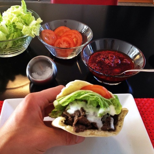 Homemade reindeer shawarma with chili sauce