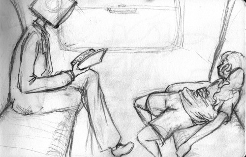 a sketch of Hermes and Maddie in a train. no real background past the window, but whatevs. apologies for the messiness