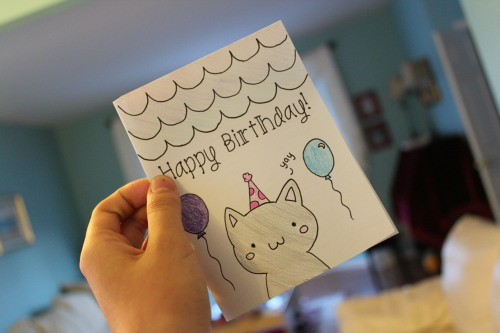 awkward-pengu1n:  made this card for my friend for her b-day :p
