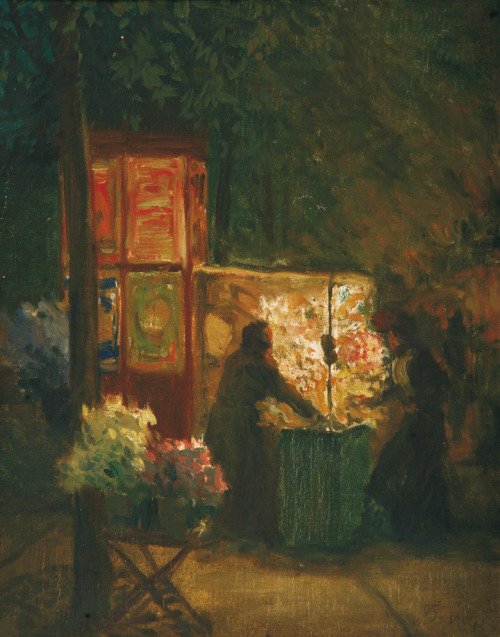 poboh:  Flower seller in Paris, 1904, Tavík František Šimon. Czech (1877 - 1942)