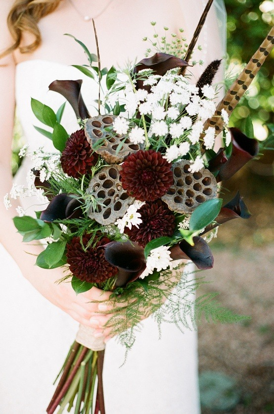 Go To Link Pop Up View Separately Winter Wedding Bouquet With Lotus Seed Pods And Long Feathers