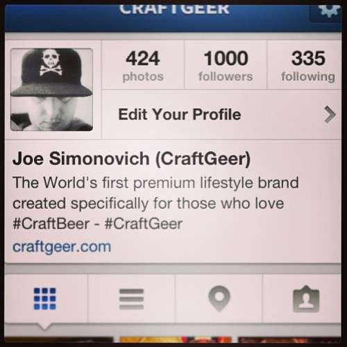 1,000 Instagram followers for @craftgeer - thank you all do much for all the love and support! #craftbeer #craftgeer