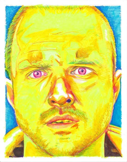 "breakingbadamc:  Jesse Pinkman of AMC's Breaking Bad - 11"" X 14"" Ballpoint pen and hilighter on paper."