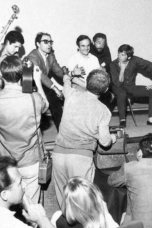 Claude Lelouch, Jean-Luc Godard, François Truffaut, Louis Malle and Roman Polanski during a press conference at Cannes Film Festival, 1968.