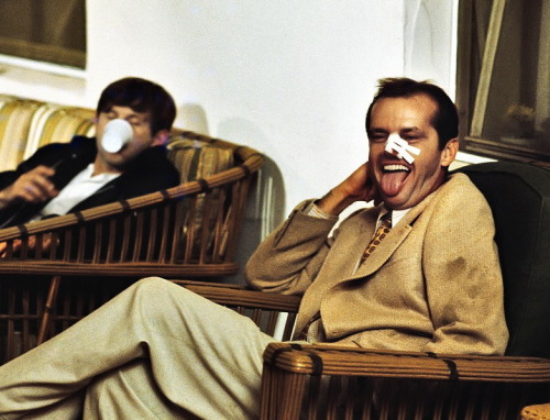Jack Nicholson and Roman Polanski on the set of Chinatown, 1974