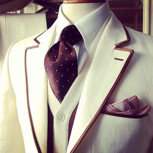 Chocolate & Cream. #chocolate #cream #suit #piping #fashion #style #menswear #polkadot #tie #cardigan #pocketsquare #beautiful #dapper #iwant
