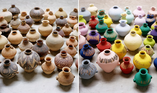 Ai Weiwei, Colored Vases, 2006. Vases from the Neolithic age (5000–3000 BCE) and industrial paint; sizes between 10 x 9 in and 14.5 x 9.5 in.   Working in the multiple, a sense of togetherness and interaction.