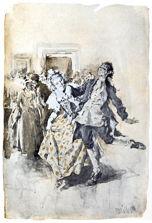 oldbookillustrations:  The lady of his heart was his partner in the dance.  Arthur Ignatius Keller, from The legend of Sleepy Hollow, by Washington Irving, Indianapolis, 1906.  (Source: archive.org)