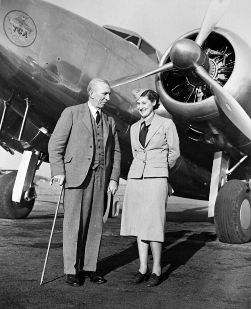 "obitoftheday:  Obit of the Day: Canada's First Stewardess When Julie Garner (later Julie Garner Grant) was hired by Trans-Canada Airlines in 1938 as their first stewardess her role was distinctly different from today's flight attendants. Besides making sure that her passengers had a drink and a pillow she was responsible for radio communications, monitoring weather patterns, and creating the menu for cross-country flights. Paid $125 a month, Mrs. Grant also designed the airline's first stewardess uniform (which she is wearing, above). She was told she could not make it navy blue because pilots wore navy and they did not want to cause confusion. Two years later, she re-designed the uniforms - they became navy blue. Mrs. Grant, who would occasionally have to wear an oxygen mask in the unpressurized aircraft, died on March 4, 2013 at the age of 103. Sources: Toronto Globe & Mail and Air Canada (which is what Trans Canada Airlines became) (Image of Lucile Garner Grant standing with the first president of Trans Canada Airlines, circa 1938, is courtesy of Air Canada) Other Canadian ""firsts"": Daurene Lewis - Canada's first Black mayor Maj. Walter Peters - Canada's first Black jet pilot and another former flight attendant, Australian Elaine Swain"