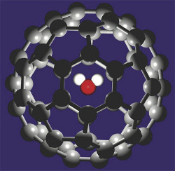 science-junkie:  Pushing a Fullerene through a NanotubePlacing a water molecule inside a 60-carbon-atom cage creates a structure that can be guided by an electric field.Fullerenes are large molecular cages built entirely of carbon atoms, and researchers have been able to modify their properties by trapping other atoms inside the cage. Writing in Physical Review Letters, two theorists offer an analysis of a more recent invention, a fullerene containing a single molecule of water. They show that it responds in a surprising way to an electric field, allowing the whole structure to be driven in either direction through a narrow channel. Although it's not completely clear why an object with no net charge should respond in this way, the researchers suggest that their discovery could have practical applications, such as delivering drugs by guiding molecules that carry them. Read more