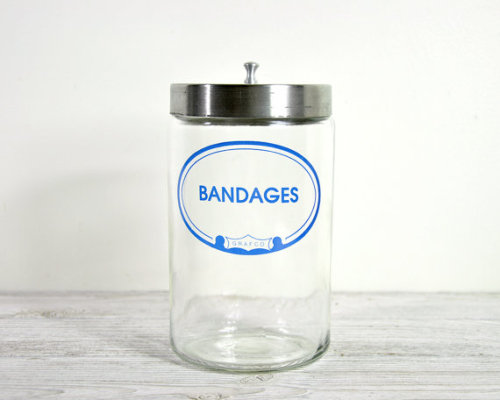 etsygoodies:   (via Vintage Glass Medical Jar / Bandages Medical Jar by havenvintage)   Want