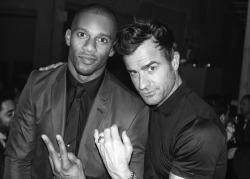 Victor Cruz and Justin Theroux rocking the night at the post show party for Italo Zucchelli's Calvin Klein Collection.