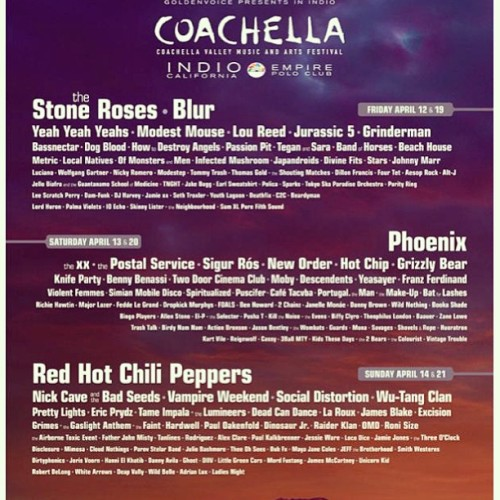 What do you guys think of the 2013 #coachella lineup?