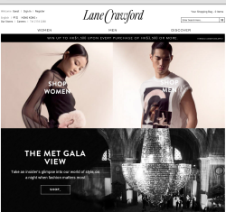 Lane Crawford e-commerce Home Page. Styling for Alexander McQueen womenswear and Givenchy menswear