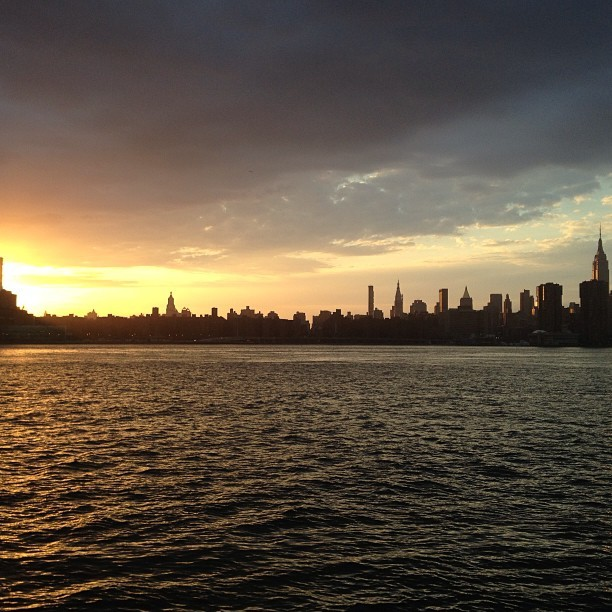 The NY skyline by way of Greenpoint. Magical. #nofilter